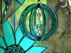 Stained Glass suncatcher sphere-ball-orb with Crystal Prism Turquoise, Stained Glass Suncatcher Turquoise