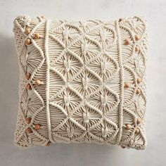 A fresh take on retro art, our pillow is made in the traditional macrame method—by carefully tying cotton cords into ornamental knots and geometric patterns. Outdoor Throw Pillows, Decorative Throw Pillows, Bed Pillows, Floor Pillows, Boho Cushions, Pillow Texture, Macrame Art, Tv Decor, Retro Art