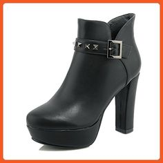 Women's Solid High-Heels Round Closed Toe Flock Zipper Boots