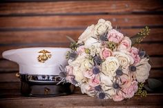 Marine cover and Scottish thistle bouquet