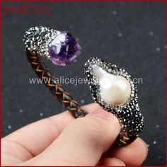 BOROSA NEW! 5Pcs/lot Natural Pearl and Natural Purple Crystal Quartz Paved Zircon Bangle With Leather Wrapped On Band JAB150