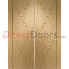 Sassari Oak Flush Door Pair with Groove Design  #uniquedoors #unusualdoors #doubledoors