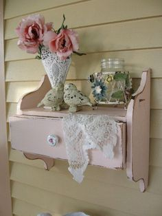 Shabby Chic Pink Wall Shelf with Drawer Vintage by Fannypippin