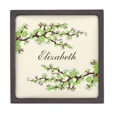 Cherry Blossoms Gift/Trinket Box (green apple) Premium Gift Boxes #wedding #greencolorscheme #bridalpartygifts #bridesmaidgifts