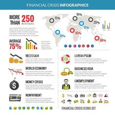 Financial Crisis Recession Statistic Infographics Layout. World global financial crisis and business risk reduction in recession statistic analysis with diagrams infographics layout vector illustration