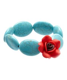 Loving this Turquoise & Red Rose Beaded Stretch Bracelet on #zulily! #zulilyfinds