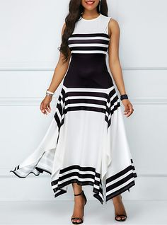 Slit Sleeveless Summer Dress Elegant A-Line Long Maxi Dress Black White Striped Party Dress Women Beach Casual Vestidos O-Neck Cheap Evening Dresses, Party Dresses For Women, Simple Dresses, Casual Dresses, Hijab Casual, Beautiful Dresses, Dresses Dresses, Dresses Online, Wedding Dresses