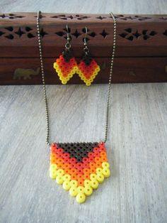 Earrings and necklace hama perler by bijoux-creations-de-sylvie-poilvet
