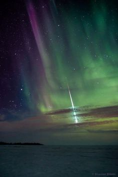 an aurora and a fireball over Manitoba, Canada, by Shannon Bileski (www.signatureexposures.com)
