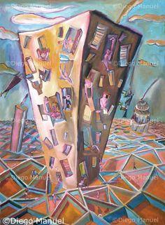 Ciudad del futuro, acrylic on canvas,95 x 130 cm. Price of original painting $1100