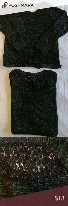 NWT black 3/4 sleeve sweater size M Very cute and soft 3/4 sleeve sweater from NORDSTROM RACK. Size Medium. Lace detail on sleeves and back. Tied at waist.No flaws or defects. Sherman Girls Sweaters Crew & Scoop Necks