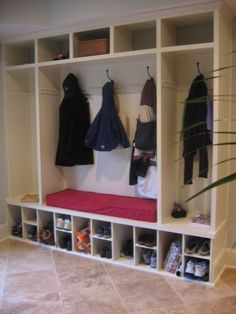 Love the shoe/shoe/boot configuration below!  Other suggestions: build tall enough for boot dryers, add pull out drawers for shoes to reach all the way to the back, add pull out drip pans for drippy yuck.