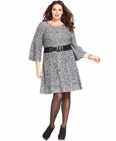 Style&co. Plus Size Three-Quarter-Sleeve Belted Sweater Dress
