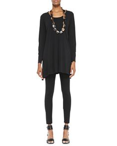 Silk Jersey Long-Sleeve Tunic & Viscose Jersey Ankle Leggings, Petite by Eileen Fisher at Neiman Marcus.