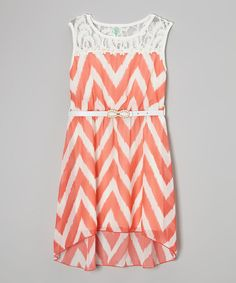 Probably not a flower girl dress, but still cute for the girls :) Coral Zigzag Lace Hi-Low Dress - Girls by Just Kids #zulily #zulilyfinds