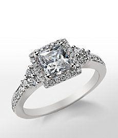 Monique Lhuillier Princess Cut Halo Diamond Engagement Ring