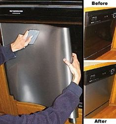Cover your appliances with stainless steel contact paper. Make sure that there are no broken or crooked edges. Completely coat the appliance with the contact paper, smoothing out any bubbles as you go.