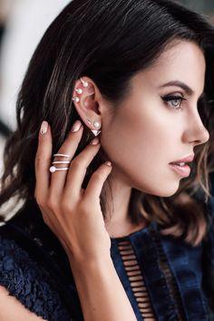 How to layer earrings - sterling silver ear jacket + triangle diamond stud earring + 3 pearl & diamond ear cuff