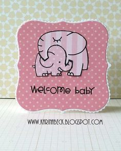 Pink Elephant Baby Catd