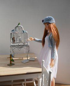 dollhouse bird cage 1:12, momoko doll in 1:6 scale