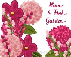 Plum and Pink Floral Clip Art Set, plum and pink flowers - Wedding, Invitation, Paper Goods Clip Art, Floral Clip Art by TraceyGurleyDesigns on Etsy