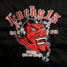 Lucky 13 | Lucky 13 - Grease, Gas & Glory Work Jacket - Men's Jackets - Clothing ... Diablo, Psychobilly, Cool Logo, Work Jackets, Men's Jackets, Cartoon Drawings, Cartoon Art, Rockabilly Art, Rat Rods