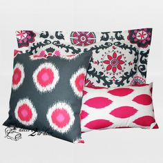 Pretty in pink and grey! Polka dots combine with a blend of greys and pink chevron. Medallion motif pattern is perfectly pretty in pink. Pink and grey saves the day!