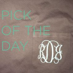 Monogram Pocket Tees! $22.50! Also an additional 10% off with code FIRSTORDER need one in every color! www.etsy.com/shop/southerngoldboutique