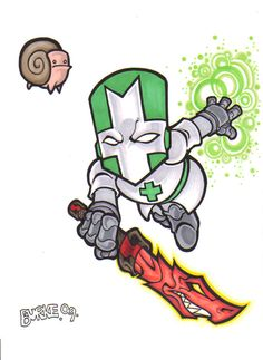 Castle Crashers Green knight with dragon sword and snail orb. Castle Crashers, Green Knight, Dark Comics, Gaming Tattoo, Fallen London, Skullgirls, Yandere Simulator, Comic Games, Game Character