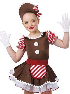 Chocolate spandex leotard with attached skirt and red/white striped spandex sleeves. Separate white chiffon underskirt and red foil printed spandex belt with matching apron. Rickrack, sequin and button applique trim. Christmas Dance Costumes, Dance Recital Costumes, Boy Costumes, Halloween Costumes, Chef Costume, Creative Costumes, Dog Dresses, Dance Outfits, Holiday Outfits