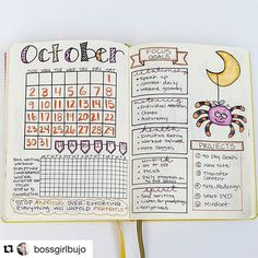 #October spread from @bossgirlbujo. That spider looks like he's having a great time, no? #Repost @bossgirlbujo (via @repostapp) ・・・ #planwithmechallenge day 2: monthly overview. My monthly is definitely just an overview to organize my brain and decide m