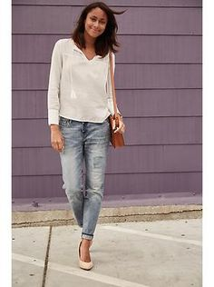Found on oldnavy.com: cream poet blouse, distressed boyfriend straight jeans, neutral shoes, cross-body bag