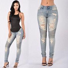 Women Slim Denim Biker Ripped Jeans