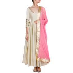 Poly+Silk+Cream+Plain+Semi+Stitched+Long+Anarkali+Suit+-+S797 at Rs 1099