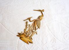 Vintage Brass Key Holder | Crane Birds Hooks Wall Hanging