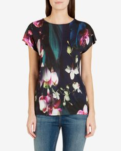 Fuchsia Floral T-shirt - Dark Blue | Tops & T-shirts | Ted Baker UK