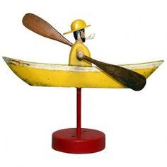 Nautical Folk Art Whirligig Sea Captain in Boat Toy Seller Charles Flint Art & Antiques
