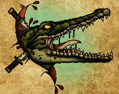 Crocodile - The Beasts Within Series, Neo-Traditional Tattoo Flash, Old School, Art Print 16x12