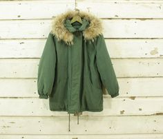 vintage 90s green puffy fluffy fur hooded by TheBasilBarnCompany
