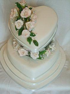 White Heart Shaped Wedding Cakes Ideas