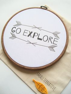 Go Explore // Decorative Hoop Art // Nursery by Smallternative, £12.00 #explore #explorer #nursery