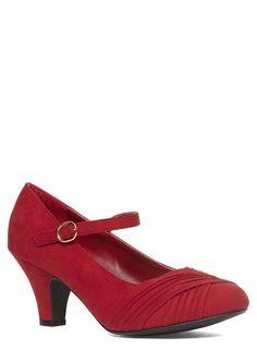 Evans Red Suedette Ruched Heels