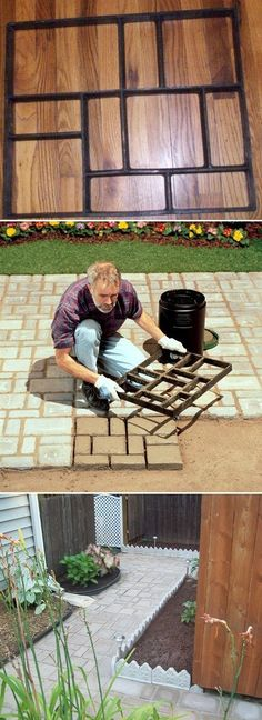 Belgian mold cobblestone mold I am so going to do this for my back patio! Diy Patio, Backyard Patio, Backyard Landscaping, Patio Decks, Diy Concrete Patio, Landscaping Ideas, Concrete Paver Mold, Paver Sealer, Concrete Bags
