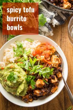 These vegan burrito bowls are made with spicy tofu and black beans over a bed or rice with salsa and creamy guacamole! A delicious and easy dinner that's perfect for meal prep! #veganrecipes #tofurecipes #burritobowls #mealprep Tofu Recipes, Vegan Dinner Recipes, Delicious Vegan Recipes, Vegan Dinners, Whole Food Recipes, Healthy Recipes, Healthy Meals, Recipies, Vegetarian Cooking