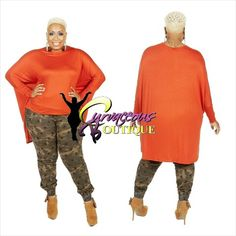 RUST OVERSIZE HIGH-LOW TOP   CAMOUFLAGE STAR PRINT JOGGER    ( MODEL WEARING 1X )   SIZE :  1X  2X  3X    TOP COLORS :  BLUE  BLACK  RUST    WWW.CURVACEOUSBOUTIQUE.COM & IN STORE    { { VISIT THE WEBSITE FOR ALL DETAILS & PRICE } }