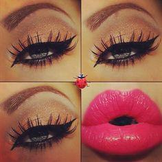 Gold Shimmer Eye Makeup - Dramatic Winged Eyeliner - Lashes - Hot Pink Lips