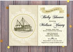 Items similar to Retro Ship Baby Shower Invite. Baby boy or baby girl invites. on Etsy Baby Shower Invitations, Invites, Melissa Young, Ottawa City, Target Baby, Printable Vintage, Babies R Us, Rsvp, Baby Boy