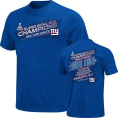 $21.99 from FansEdge - New York Giants Super Bowl XLVI Champions Championship Way IV Schedule T-Shirt - Made by VF Imagewear, this comfy Giants t-shirt features vibrant team colors and the official Super Bowl XLVI logo. This shirt is a must-have for any die-hard fan. http://www.fansedge.com/New-York-Giants-Super-Bowl-XLVI-Champions-Championship-Way-IV-Schedule-T-Shirt-_-478188591_PD.html?social=pinterest_020712_superbowl