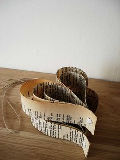 Twine and upcycled Shakespeare books make for a great decoration piece!