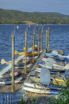 Seaplane dock in Ketchikan, Alaska/ In AK its float plane dock parking, along with boat dock parking. Pretty cool.